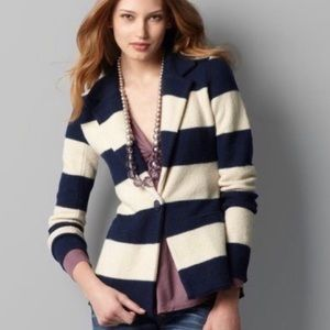 Ann Taylor Loft Merino Wool Striped Blazer Small